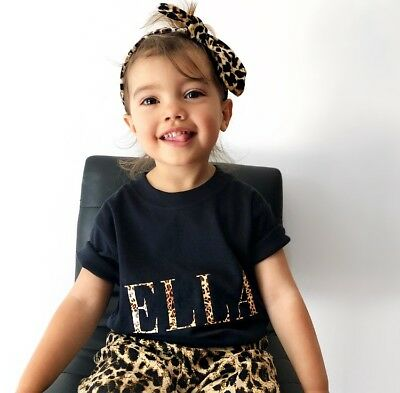 Leopard Print Childs T-shirt, Personalised Childs Tee, Girly T-shirt, Toddler