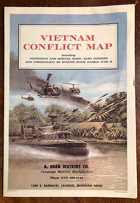 Vintage 1960s Vietnam Conflict Map, Full Foldout, Huey and Patrol Boat Cover Art