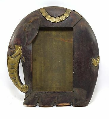 Indian Wooden Elephant Design Photo Frame Brass Fitted Decorative. i50-13