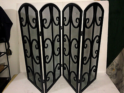 Terrific Vintage Colapsable Four Panel Metal Fireplace Screen Beutiful Home Inspiration Ommitmahrainfo