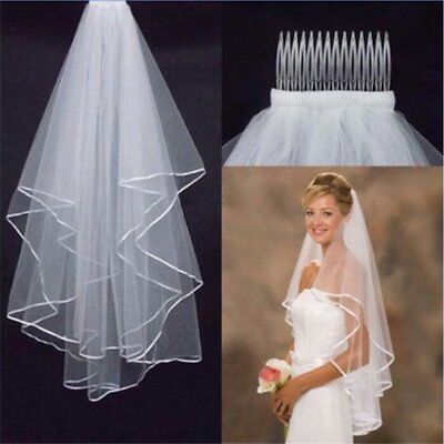 2 Layers White Wedding Veil Bachelorette Bride To Be Fancy Dress Hen Night Party
