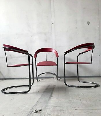 1of4 VINTAGE MODERNIST 1980s RED LEATHER CANASTA CHAIR BY ARRBEN ITALY