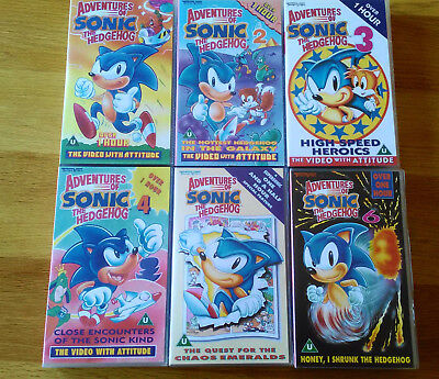 Adventures Of Sonic The Hedgehog Vhs Tempo Video Volumes 1 2 3 4 5 6 2 00 Picclick Uk