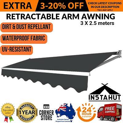 New OUTDOOR FOLDING RETRACTABLE ARM AWNING Sunshade Canopy Shade Patio 3x2.5M