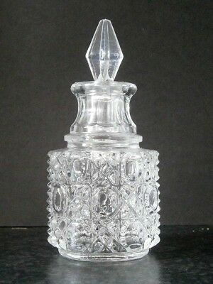 Vintage Depression Glass Scent Perfume Bottle Cut Glass Look Plastic Stopper
