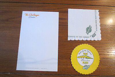 """CHICAGO & NORTH WESTERN Ry """"400"""" COASTER and NAPKIN and CHALLENGER STATIONARY"""