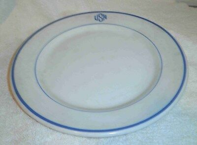 """U.S. NAVY 9"""" dunner plate, used aboard ships for warrant officer mess, ca. WW II"""