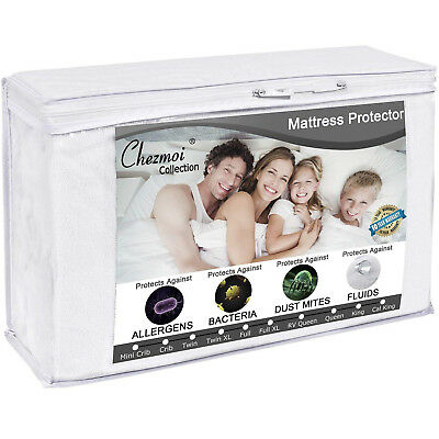 Deep Pocket Mattress Protector Waterproof Breathable Terry Cloth Noiseless Cover