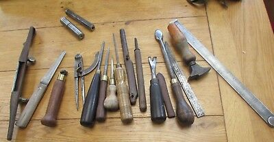 Vintage Lot of Leatherwork or Cobbler's Hand Tools X 18