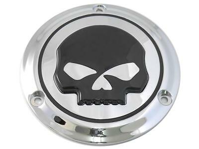 Chrome 3 hole derby cover with black skull for Harley Davidson Big Twin 1970-98
