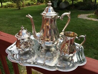 Vintage  Oneida Silver Plated Teapot Creamer Sugar Bowl w Lid  Tray not SP