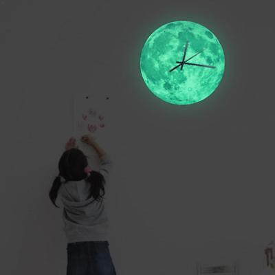 New Luminous Moonlight Home Wall Clock 3D Watch Moon Glow In The Dark Clock Kids