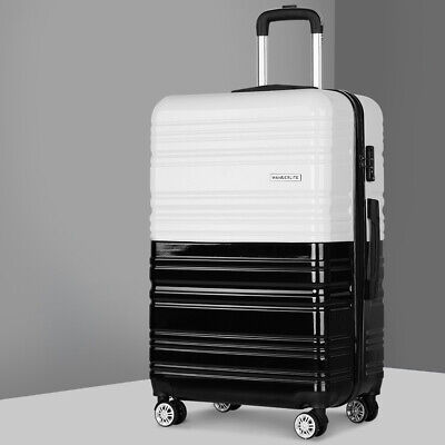 Luggage Suitcase Trolley Hard Shell Lightweight Carry On Bag Black White 28""
