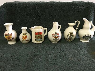Collection Of 6 Vintage Souvenir Jugs From Britain