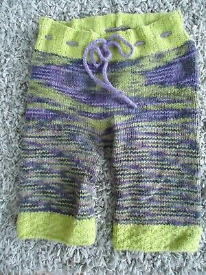 Wool Cloth Diaper Cover Soaker Pants Prple and Green Multicolor Drawstring