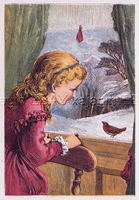 BIRD Robin Greets Girl with Song at Window, Antique 1870s Chromolith Print