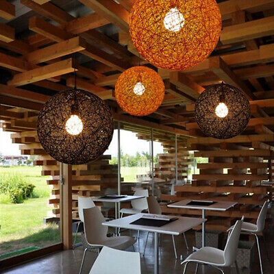 2x Rattan Wicker Ceiling Pendant Lampshade for Shop Restaurant Home Decor
