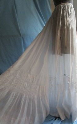 "Edwardian French Heirloom Sewng Valencienne Lace Petticoat Skirt 248"" Wide Sweep"