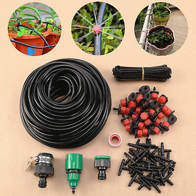 25m DIY Micro Drip Irrigation System Kit Dripper Sprinkler Plant Watering Hose