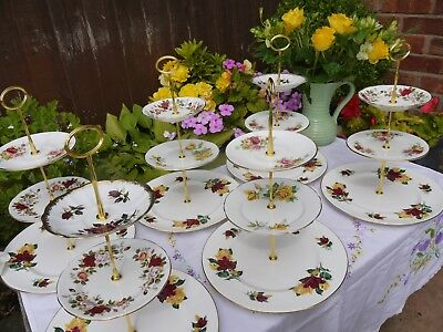 Job lot of 6 Vintage mixed roses 3 tier cake stands