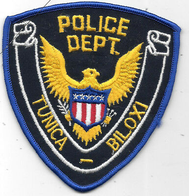 "Police Patch: Tunica Biloxi Mississippi Police Dept. Patch Measures 4"" X 4"""