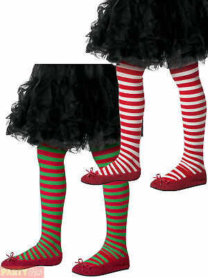 Childs Striped Tights Girls Christmas Stripy Elf Fancy Dress Costume Accessory