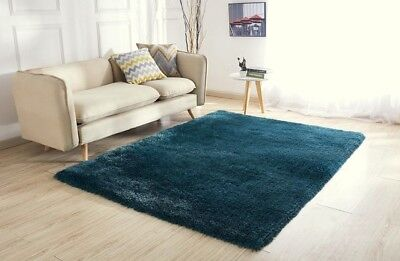 New Dark Teal Thick Silky Soft Shaggy Pile Rug Modern Luxurious Rugs Runners