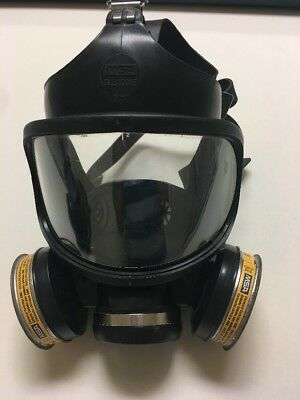 Unused MSA Full Facepiece Respirator Gas Mask With Two Chemical Cartridges
