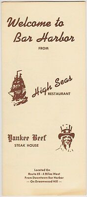 1970's High Seas Restaurant Bar Harbor Maine Brochure
