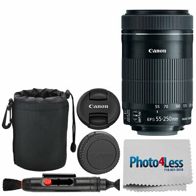 "Canon EF-S 55-250mm f/4-5.6 IS STM Lens + 6"" Lens Pouch + Cleaning Pen & Cloth"