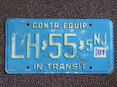 NEW JERSEY LICENSE PLATE CONTR EQUIP IN TRANSIT TRUCK Man Cave Dads Garage 2001