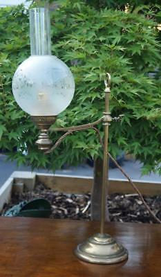 Antique Brass Oil Lamp with Adjustable Swing Arm Etched Glass Shade 48x24cm