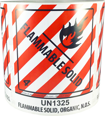 "Hazard Class 4 D.O.T. UN1325 Flammable Solid Organic N.O.S. 4 x 4.75"" 500 Labels"