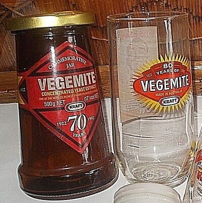 6 old Vegemite jars & glasses - Amber Jar 70yrs com', Milk glass Jar c1940s,gc