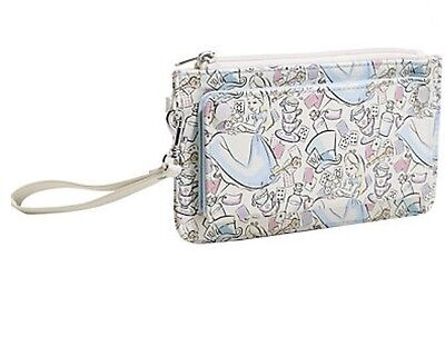 Disney Alice In Wonderland Pastel Double Snap Zip Flap Wristlet Wallet Gift