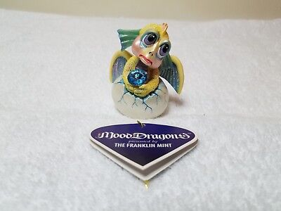 """The Franklin Mint Mood Dragons Collection """"Pouty"""" With Swarovski Crystal"""