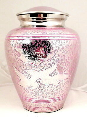 Adult Cremation Urn for Ashes Large Funeral Memorial Urn Pink Flying Birds NEW