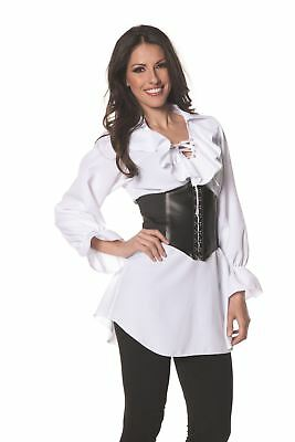 Pirate Lace  Front Long Sleeve Shirt Steampunk Adult Womens Halloween Costume