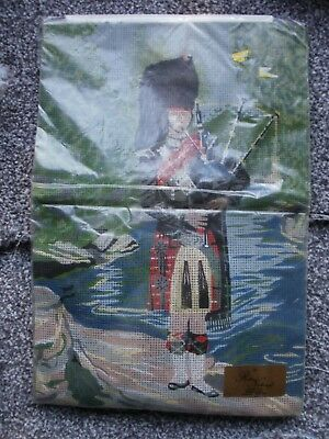 """ROYAL NEEDLECRAFT """"Scottish Piper"""" Printed Tapestry Canvas AND  wools"""
