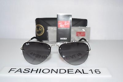 9626dde1b3 New Ray-Ban Aviator Silver Black RB3449 003 8G 59mm Rayban Sunglasses