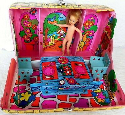 Retro Tutti Chris Picnic Patio doll case MATTEL Inc. 1965 with vintage Tutti too