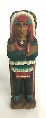 "Cigar Store Indian Hand Carved And Painted Solid Wood Chief 40"" Tall"