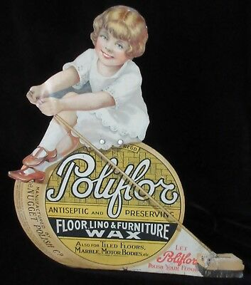 Rare English 'poliflor Floor, Lino & Furniture Wax' Tin Sign