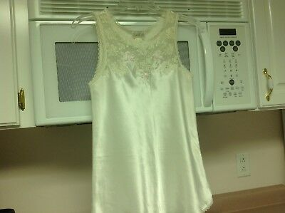 Vintage Sara Beth Ivory Satin & Lace Camisole, Beaded Flowers, Small, Preowned
