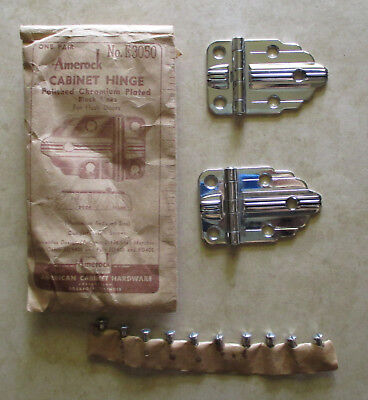 Vintage cabinet hinges flush chrome plated black line Amerock #E 3050 Deco