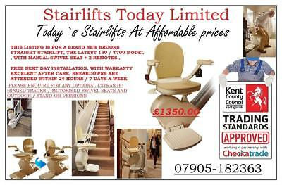 Brand New Brooks Stairlifts 130  MODELS , Kent. Sussex, M25 London Essex + more/