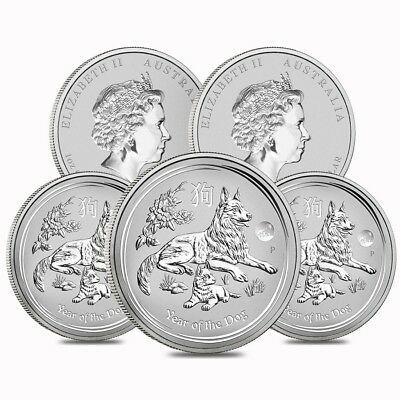 Lot of 5 - 2018 1 oz Silver Lunar Year of The Dog Lion Privy BU Perth Mint