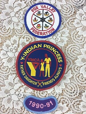 Collectible YMCA Indian Princess Embroidered Patch Lot Father Daughter 1990-1991
