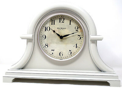 Antique Style Grey Retro Wood Effect Vintage Short Napoleon Mantel Shelf Clock