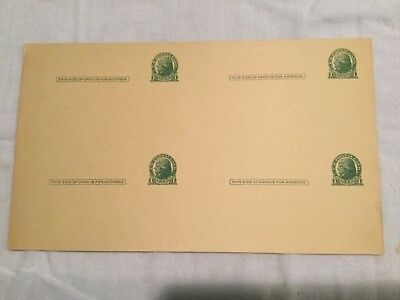 RARE Block of 4 Uncirculated 1-cent Jefferson U.S.P.O.Post Cards